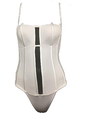 55578e4f2fa64 La Perla Graphique Couture One Piece White Monokini Swimsuit Bathing Suit  US 8