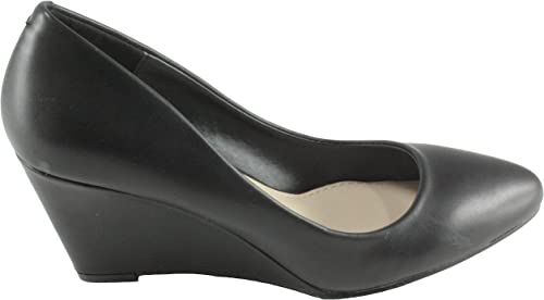 Weeboo Women/'s Penny-1 Leatherette Med Heel Wedge Dress Shoes