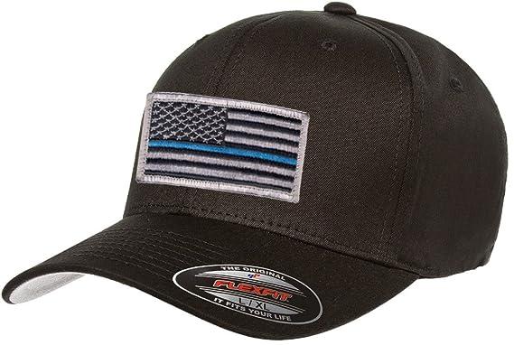 a9316ffa1b586 Flexfit V-Flexfit Cotton Twill Fitted 5001 Thin Blue Line Hat (Small Medium