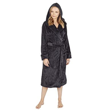 Metzuyan Ladies Plush Flannel Fleece Grey Dressing Gown Robe Amazon