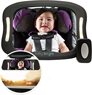 Baby Car Mirror with Light (for Driving at Night) & FOB Control   Improved Longer Lasting Battery Life   Backseat Rear View Baby Mirror by Baby Bright   Shatter-Proof, Fully Assembled