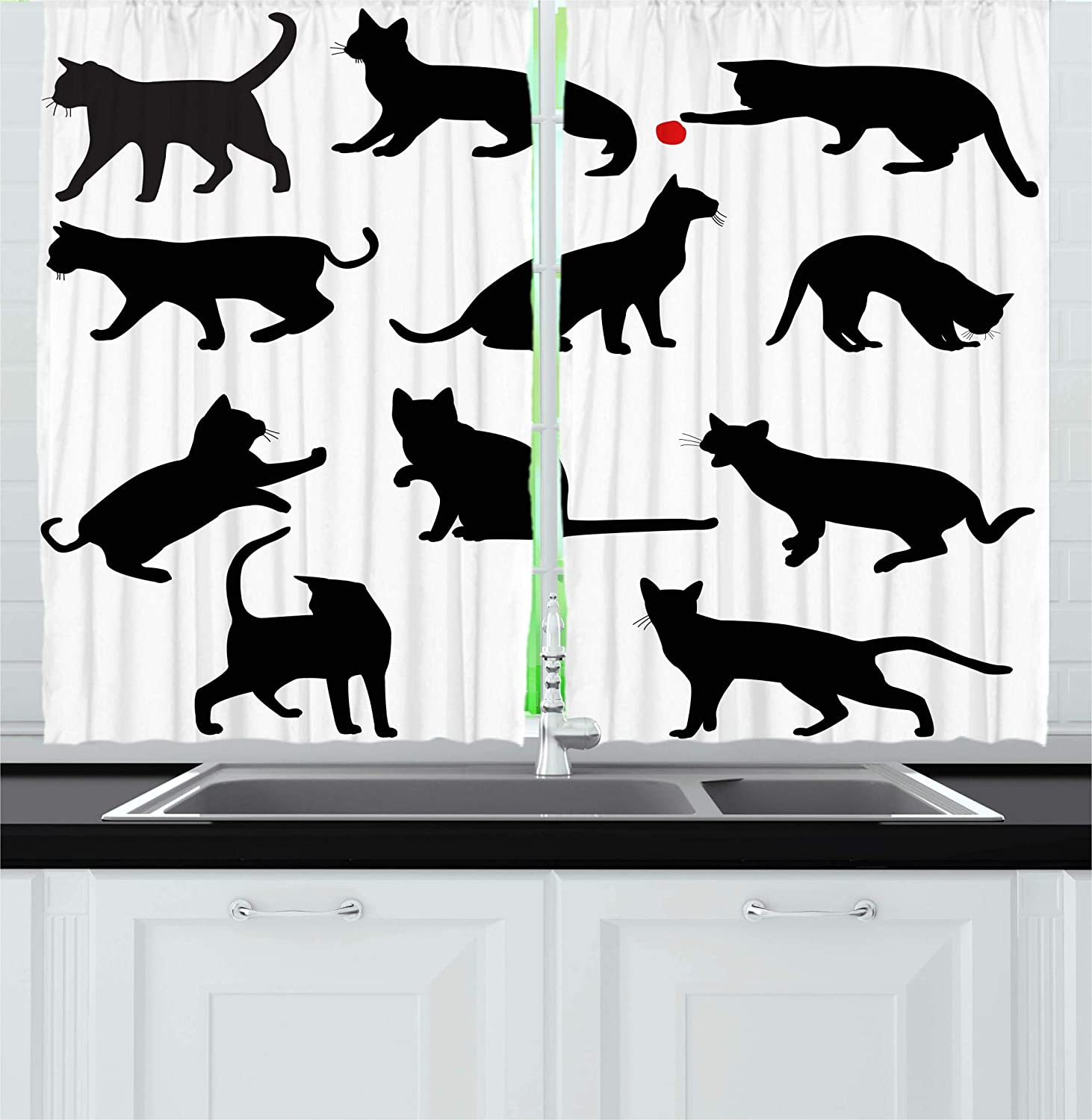 Ambesonne Cat Kitchen Curtains, Silhouette of Kittens in Various Postures Playing Red Ball Animal Pet Paw Print, Window Drapes 2 Panel Set for Kitchen Cafe, 55 W X 39 L Inches, Vermilion Black