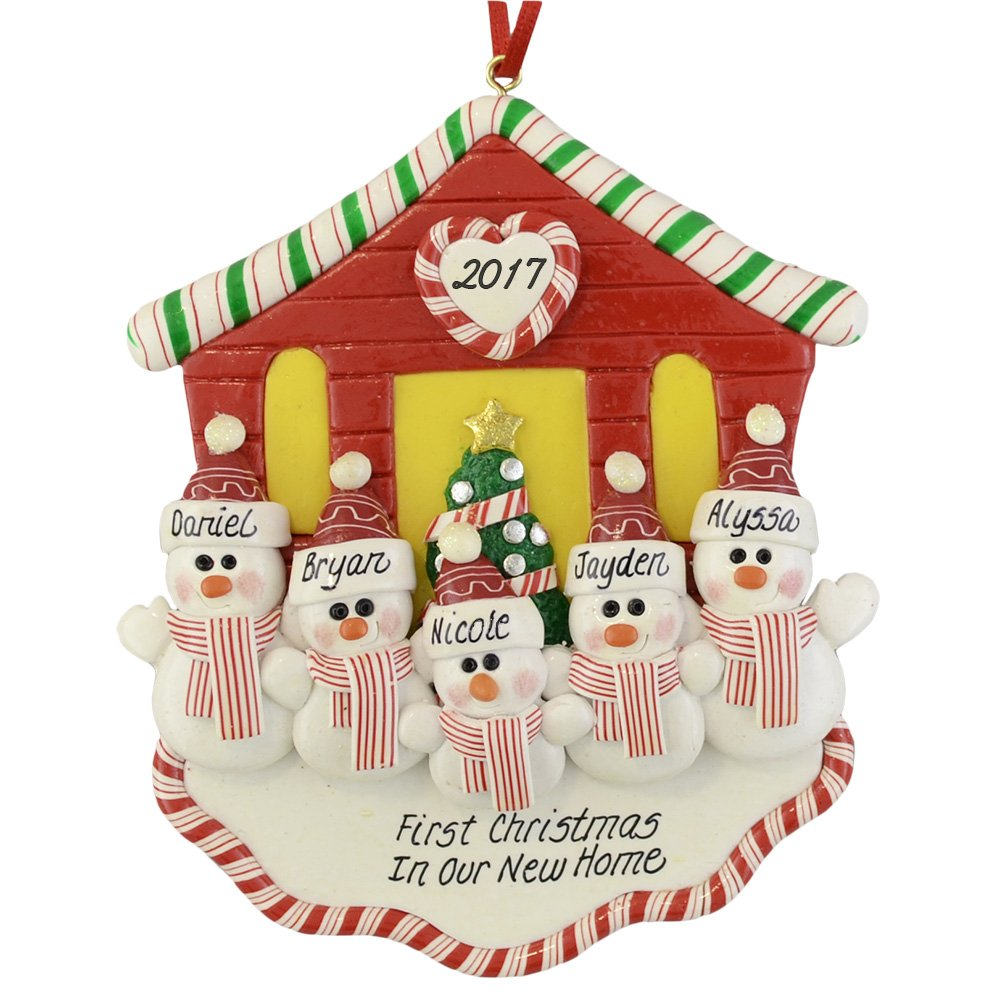 """First Christmas in Our New House for Family of 5 Christmas Ornament by Calliope Designs - Handcrafted - 4.5"""" tall - Free Personalization of Names, Year, Phrase - A Keepsake Gift for New Homeowners"""