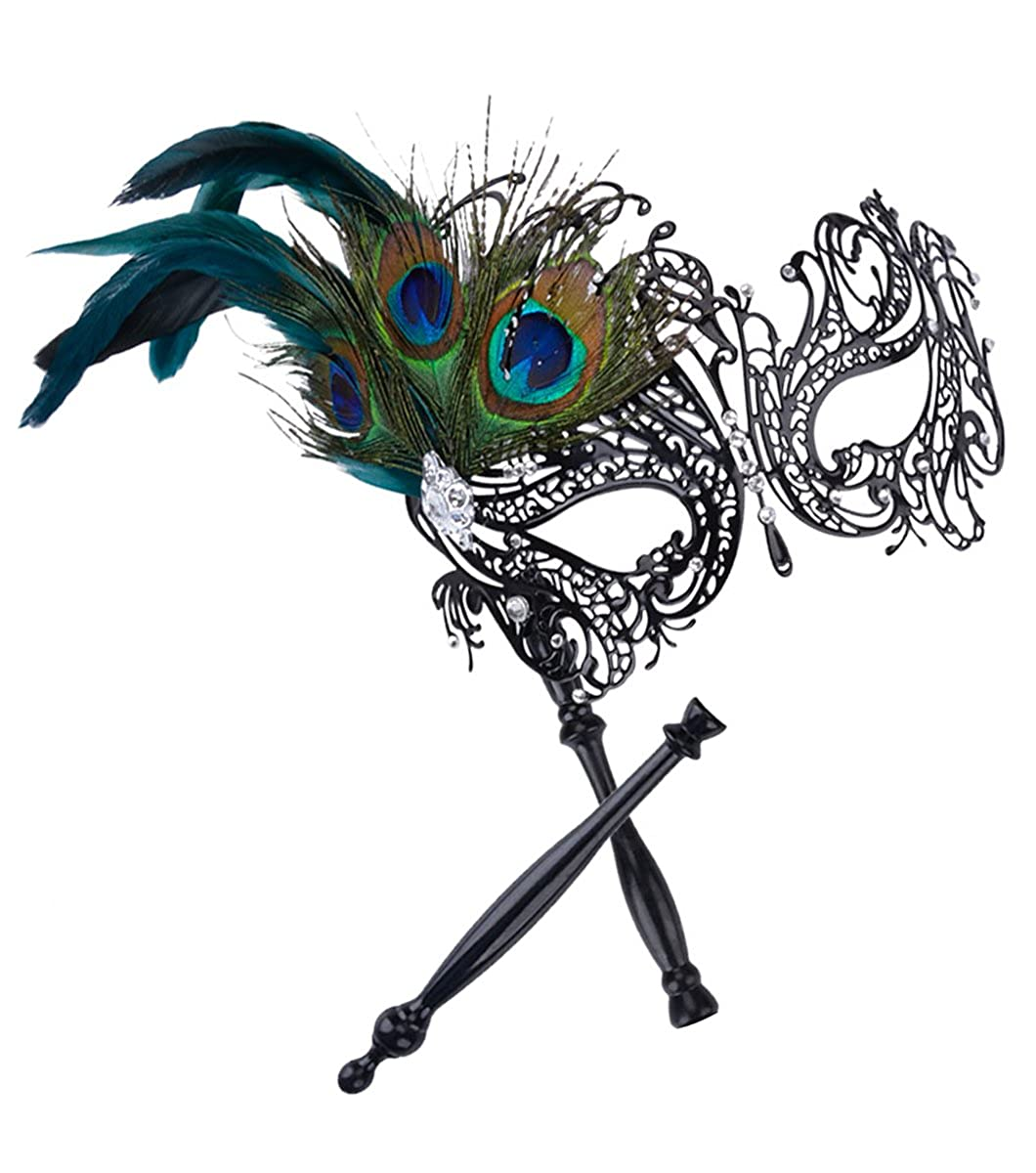 Coxeer Masquerade Mask on Stick Halloween Costume Mask Hollow Out Metal Mask E111643B571F151