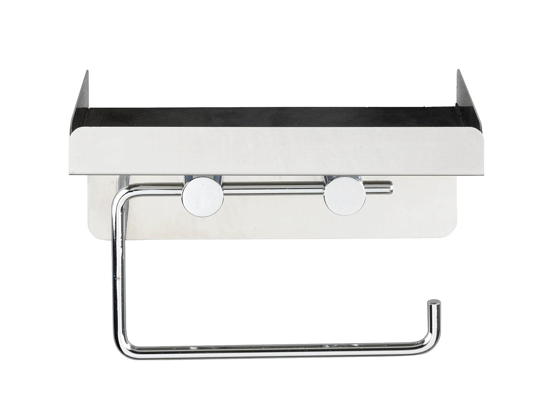 Gl/änzend 16 x 12.5 x 11.5 cm WENKO 22217100 Toilettenpapierhalter 2 in 1 Edelstahl rostfrei