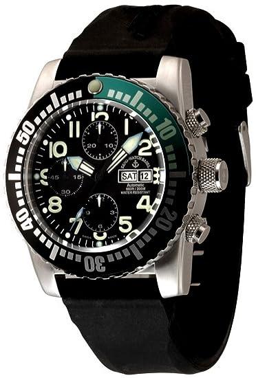 Zeno-Watch Reloj Mujer - Airplane Diver Automática Cronógrafo Numbers, black/green -