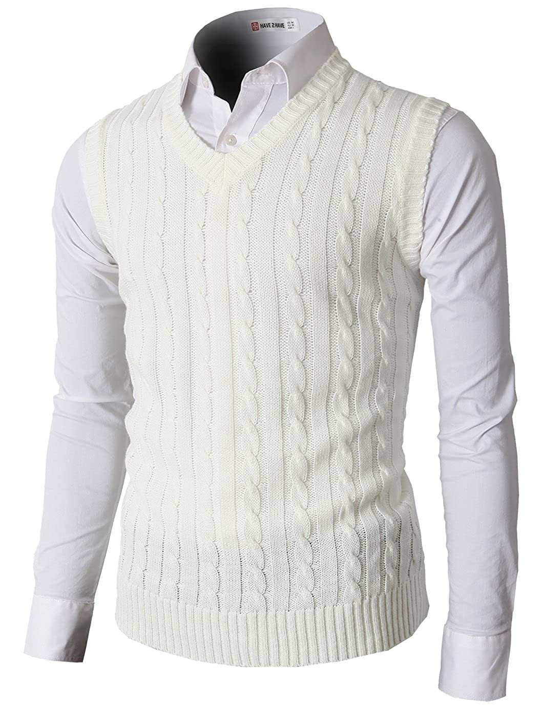 H2H Mens Casual Knitted Slim Fit V-neck Vest With Twisted Patterned  AT vintagedancer.com