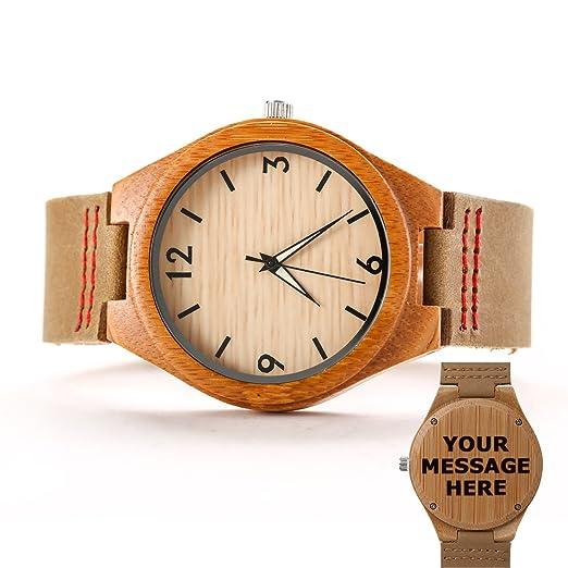 Grabado de madera relojes para hombres mujeres Casual de piel personalizado bambú reloj de pulsera famgem: Amazon.es: Relojes