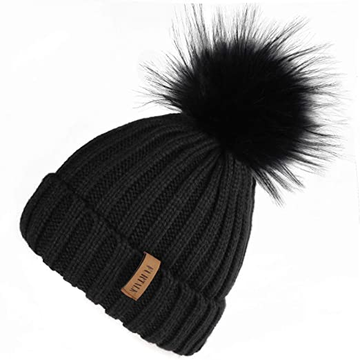 8d51612d7 FURTALK Womens Knit Winter Beanie Hat Faux Fur Pom Pom Bobble Hat Beanie  for Girls