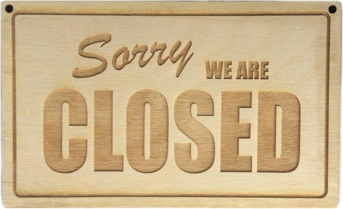 """Insegna /""""Open // Closed/"""" per porte di negozi Rovesciabile in legno inciso da appendere double-face"""