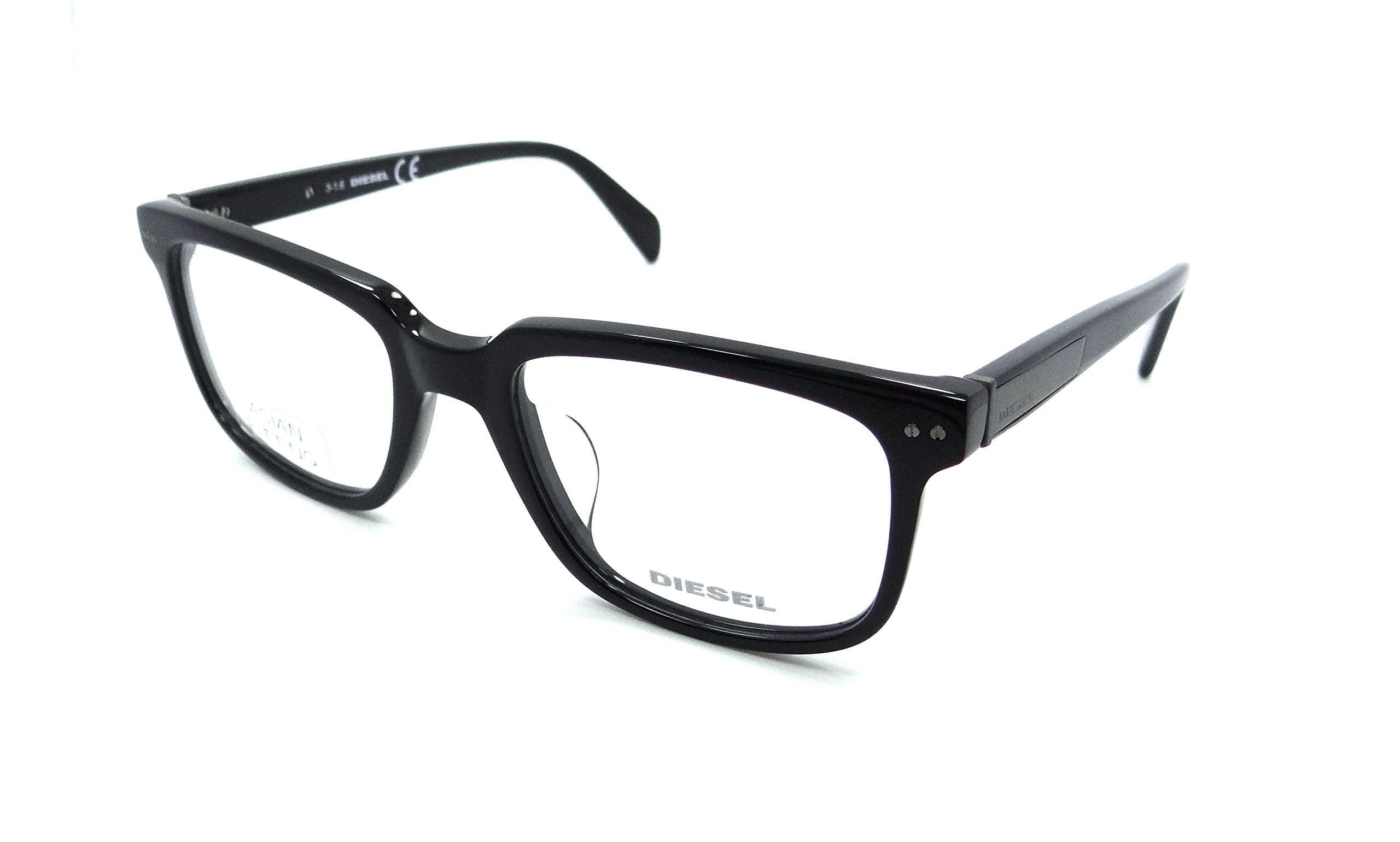 Diesel Rx Eyeglasses Frames DL5206-D 001 54-20-145 Shiny Black Asian Fit