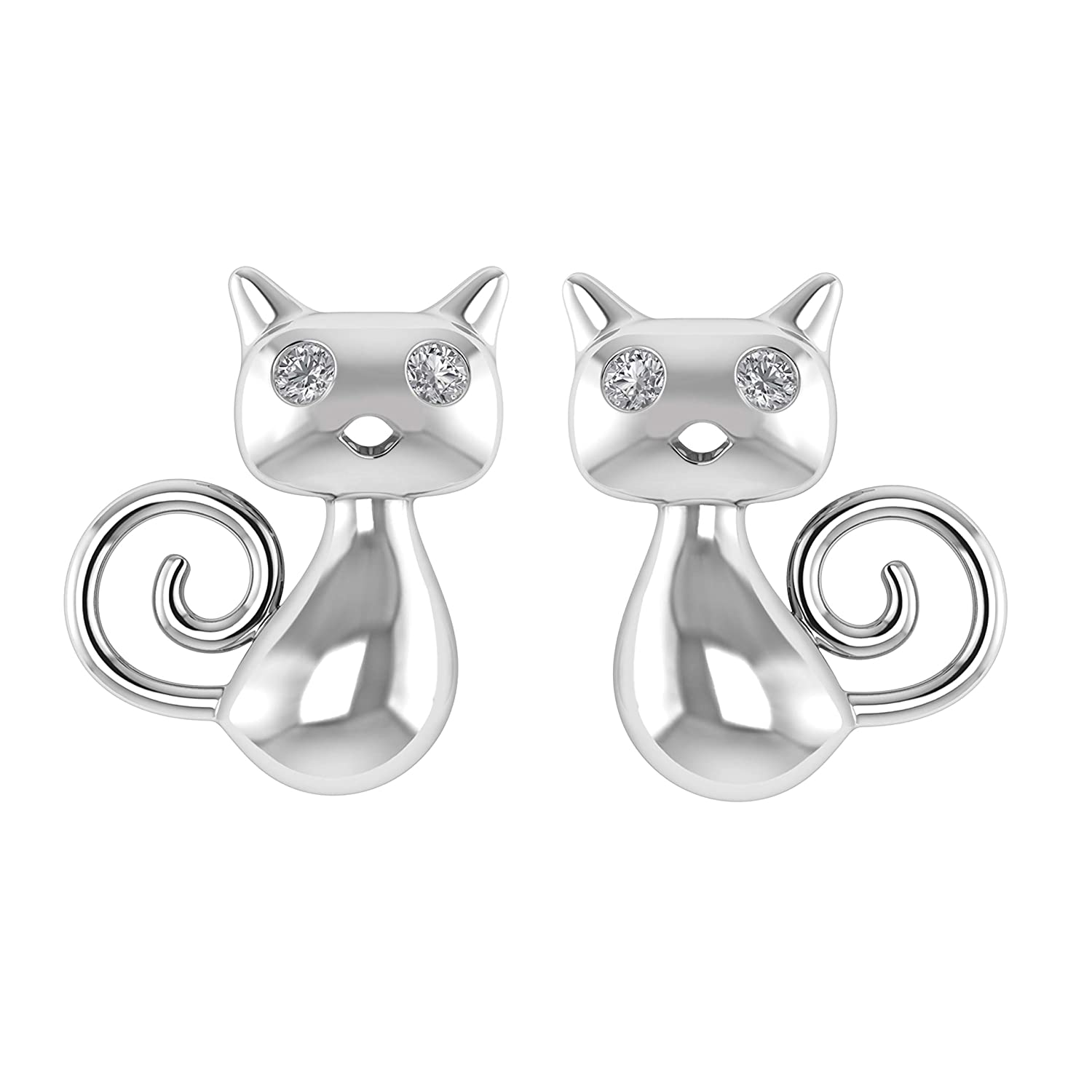 14K White Gold Fn 925 Sterling Silver 0.05 Ct Genuine Diamond Curly-Tail Kitty Stud Earrings W//Screw Back I1-I2//G-H