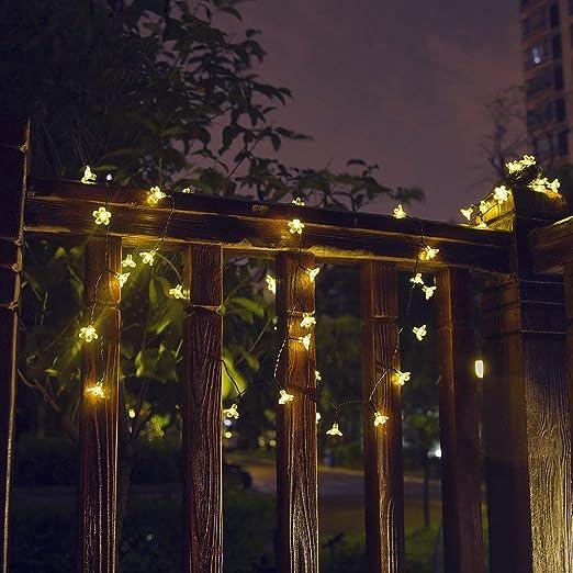8 modos] cadena de luces solares, 50 LED 22 ft impermeable lámpara de iluminación decorativa para jardín, patio, patio, casa, árbol de Navidad, fiestas: Amazon.es: Iluminación