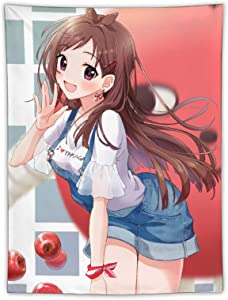 3D Printed Anime Tapestry Akari Tsujino I Do L Master Overalls Cute Girl Apple Gift for Manga Fans and Otaku Wall Hanging Cartoon Characters Tapestry for Bedroom Living Room Home Decora