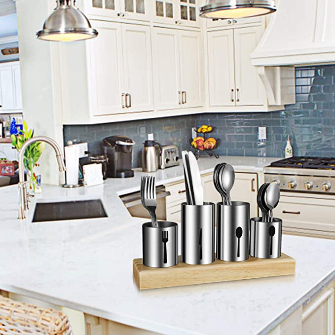 HabiLife - Soporte para cubiertos de acero inoxidable con base de madera de bambú para cucharas, cuchillos, tenedores y cubiertos