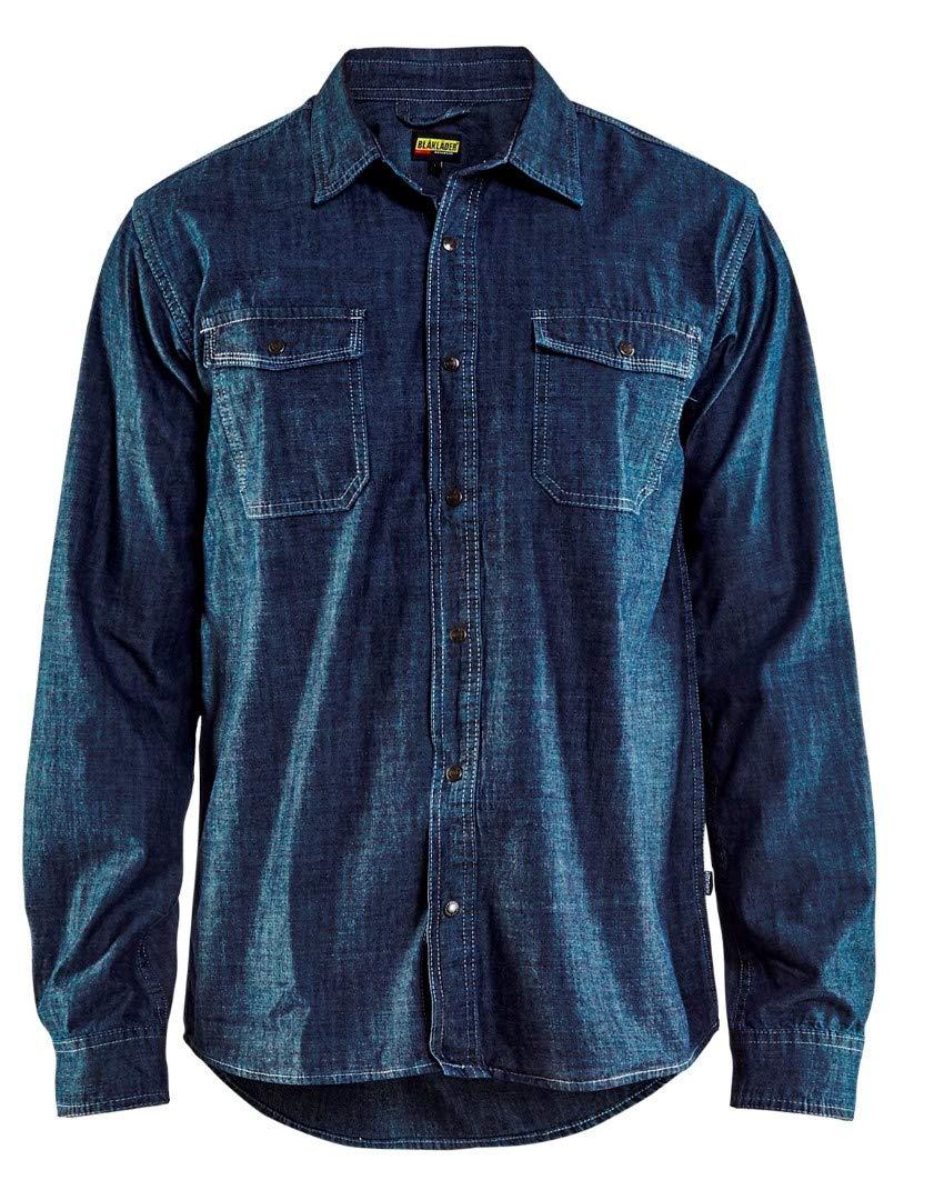 Blaklader 329511298900XS Denim Safety Shirts, Navy Blue, X-Small