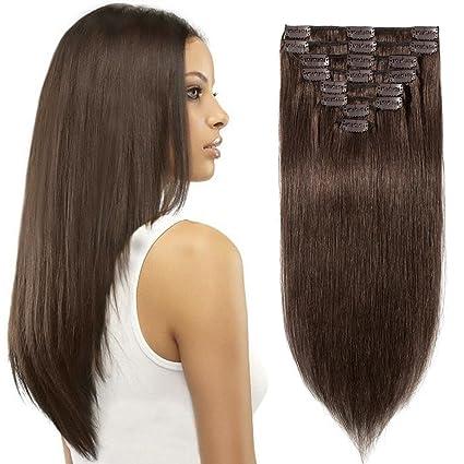 Extensiones de Clip de Pelo Natural Cabello Humano 100% Remy Hair 8 Piezas 18 Clips