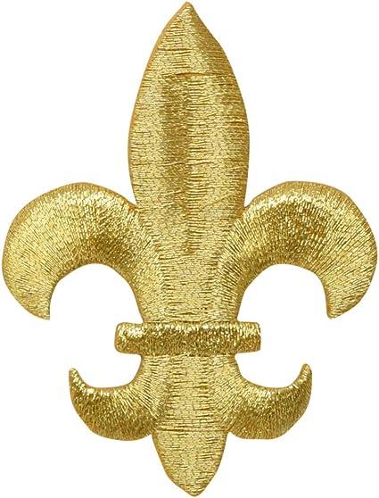 Fleur De Lis Embroidered Iron On Applique Patch Mardi Gras Set Of 2 SMALL Metallic Multi Crafts