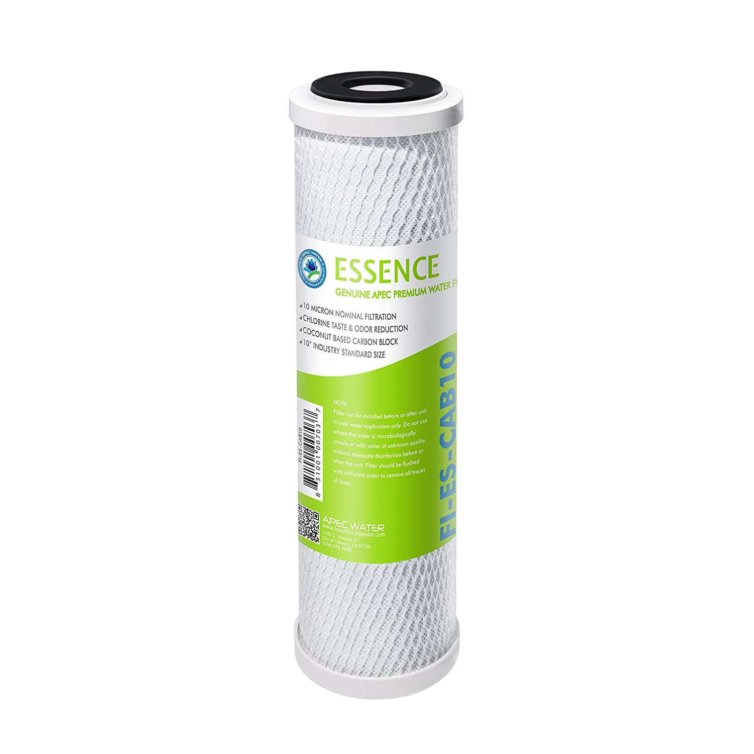 "APEC 10"" Carbon Block Water Filter For Reverse Osmosis System, 10"" x 2.5"", 10 Micron (FI-ES-CAB10)"