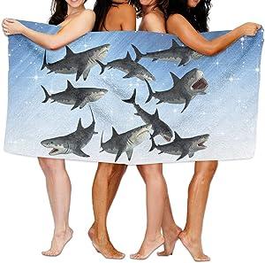 Shenigon Bath Towel, A Gruop Of Sharks Lightweight Large Swim Beach Towels