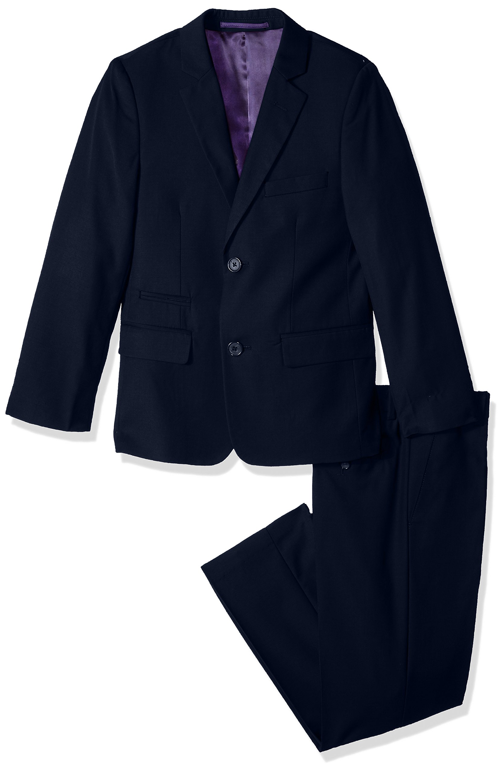 Isaac Mizrahi Big Boys' 2Pc Slim Cut Wool Blend Suit, Navy, 14H