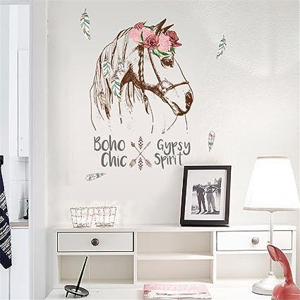 Cavallo Fiori adesivi murali Sfondi per camera da letto della ...