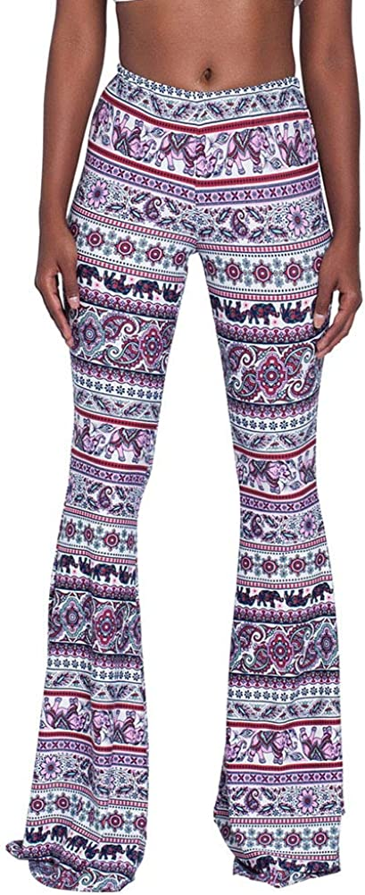Women High Waisted Fit Flare Ethnic Paisley Floral Bell Bottoms Yoga Pants Flared Leggings