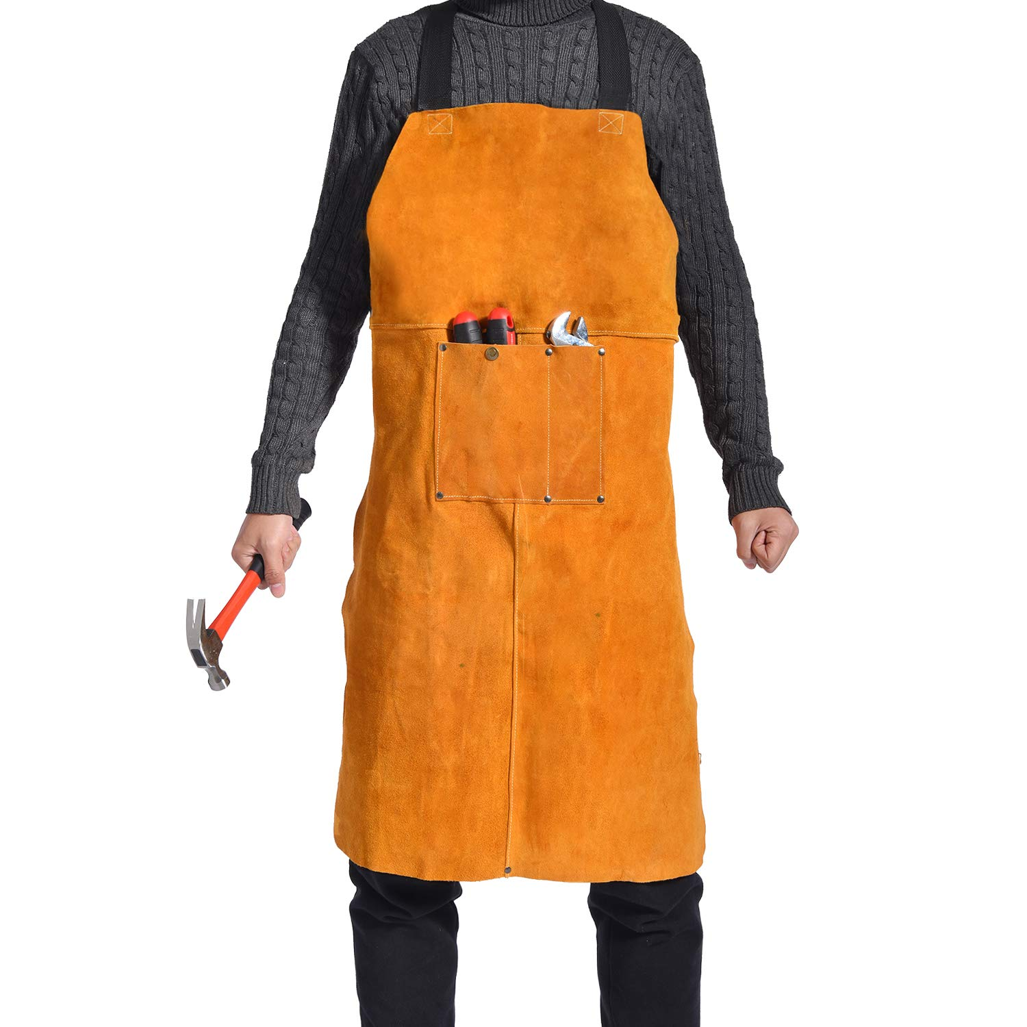 Leather Welding Apron - Heat & Flame Resistant Heavy Duty Work Bib Apron with Pockets and Adjustable Cross Back Straps for Men & Women,24'' W x 36'' L