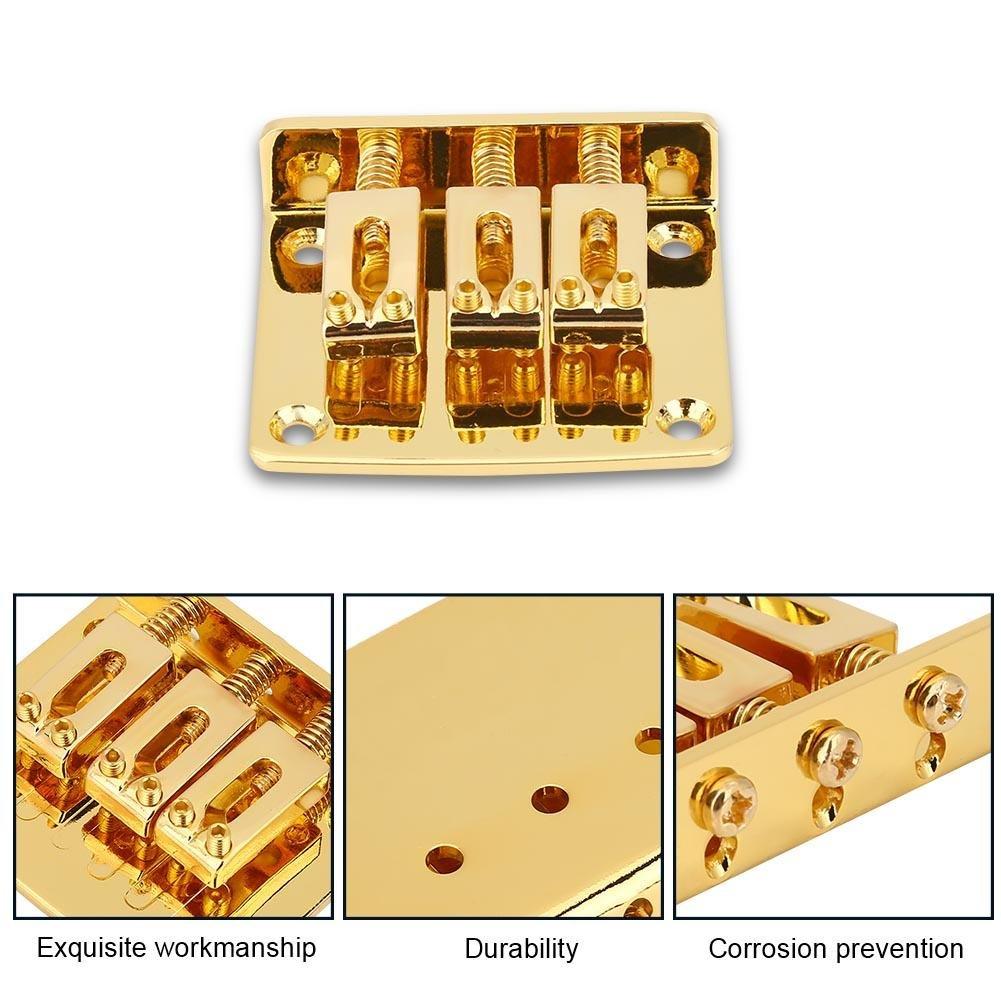 Bnineteenteam Guitarras el/éctricas Piezas de Repuesto de Puente Fijo de 3 Cuerdas para Guitarras el/éctricas Cigarbox