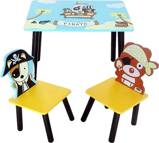 Bebe Style - Juego de Mesa y sillas de Madera para bebé (tamaño pequeño), diseño de Pirata, Color Azul: Amazon.es: Juguetes y juegos
