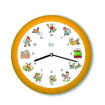 KOOKOO KinderLieder amarillo, pequeño reloj de pared, 21cm, cada hora suena una de 12 canciones infantiles conocidas en cítara y flauta alta, sensor de luz: ...