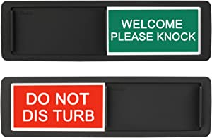 Privacy Sign, Do Not Disturb/Welcome Sign for Home Office Restroom Conference Hotles Hospital, Privacy Slide Door Sign Tells Whether Room in Vacant or Occupied, 7'' x 2'' Indicator - Black