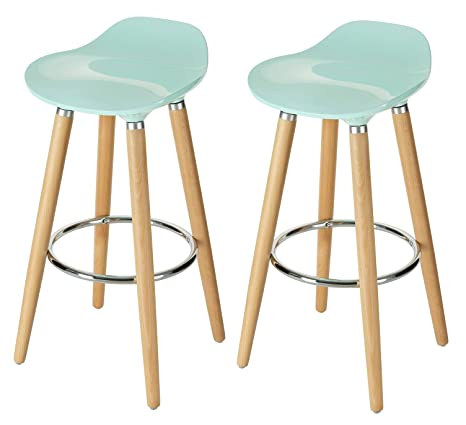 finest selection 0de11 a0ee5 Orolay 2 x ABS Plastic Bar Stool Kitchen Breakfast Barstool with Wooden  Legs (Blue x 2PCS)