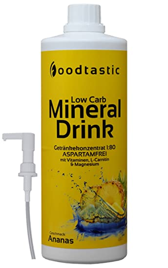 Foodtastic Low Carb Mineral Drink Ananas, 1000ml Flasche mit ...