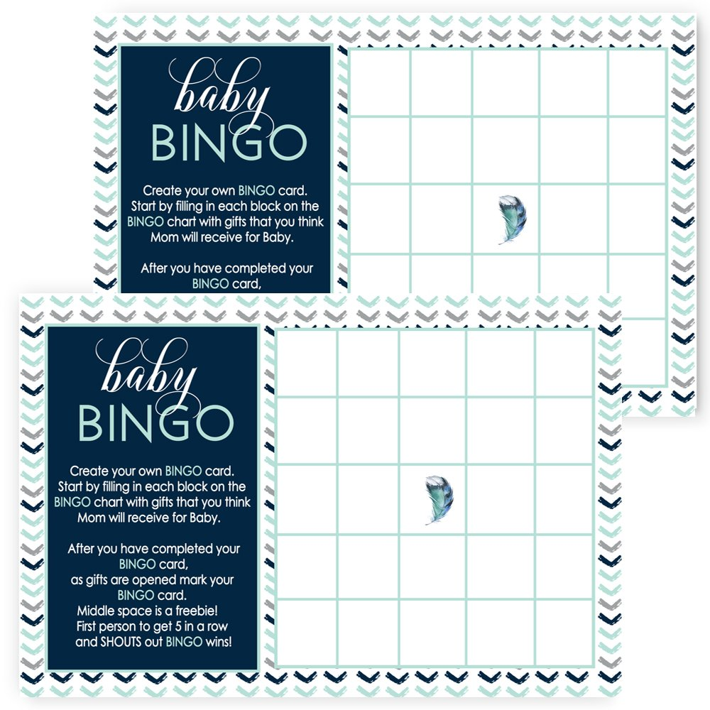 Boys Baby Shower Bingo Game Cards Set of 25 - Fill-In Navy and Gray