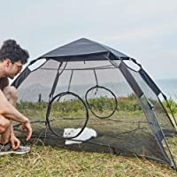 """YDYL Easy Installation Mesh Cat Play Tent for Indoor Cat with Rainfly and Two Entrance Zipper Door Size 75"""" L X60 W X36 H (190 cm Lx152cm Wx91cmH) Black Color"""