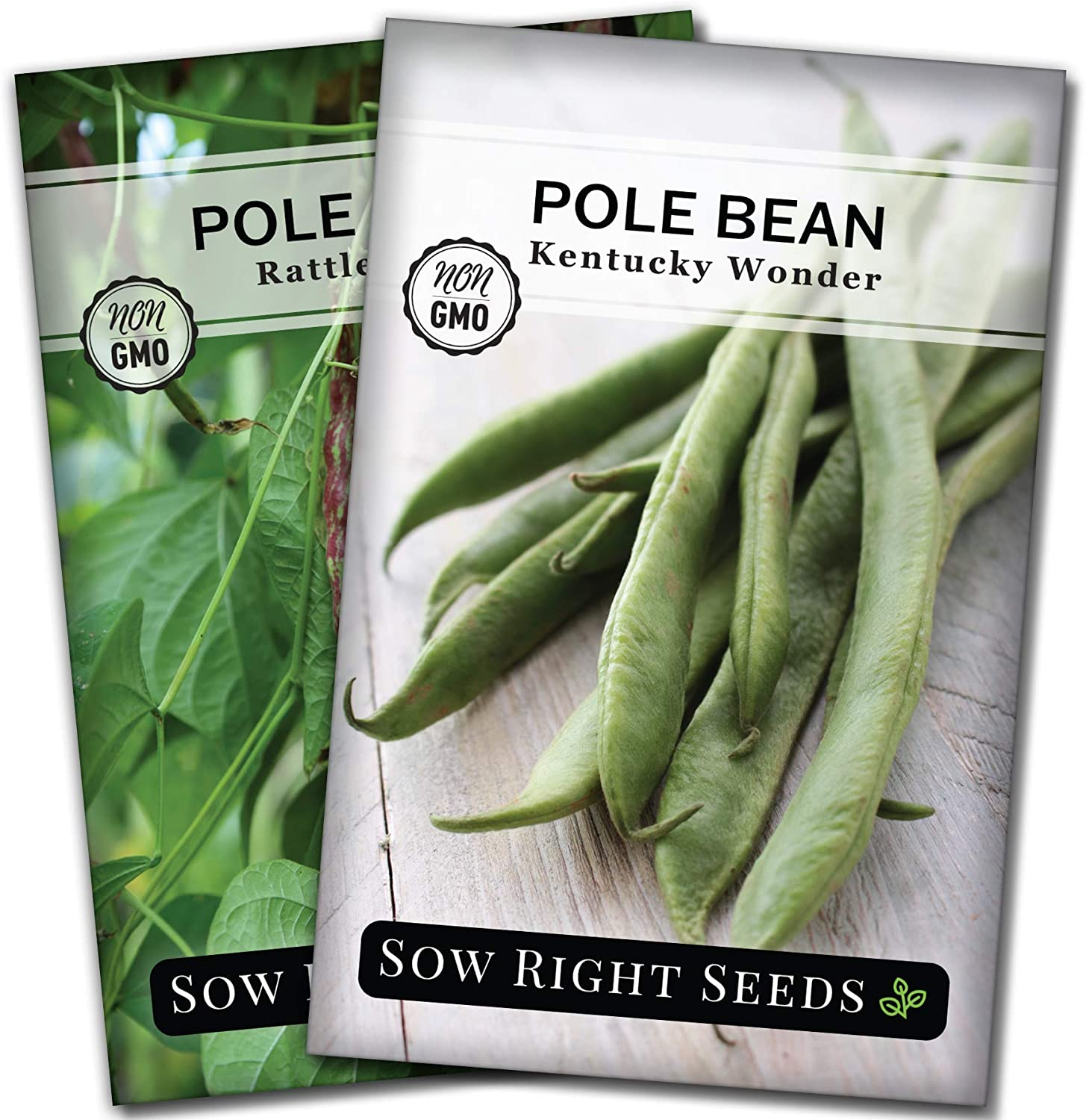 Sow Right Seeds - Pole Bean Seed Collection for Planting - Individual Packets Kentucky Wonder and Rattlesnake Pole Bean, Non-GMO Heirloom Seeds to Plant an Outdoor Home Vegetable Garden