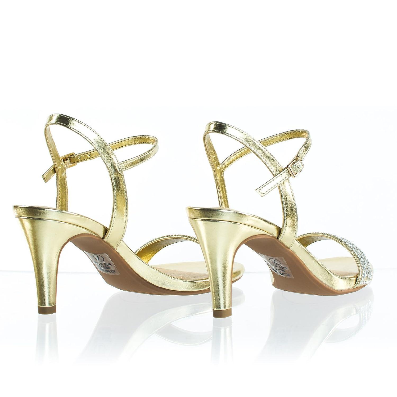 Cityclassified Rhinestone Crystal High Heel Dress Sandal w Comfortable Foam Padding