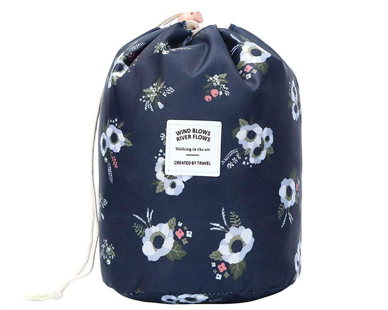13271febd32d03 Amazon.com : Toiletry Bag, Women Cosmetic Bags Travel Multifunctional  Waterproof Drawstring Pouch Set of 3, Flamingo (Black Flower) : Beauty