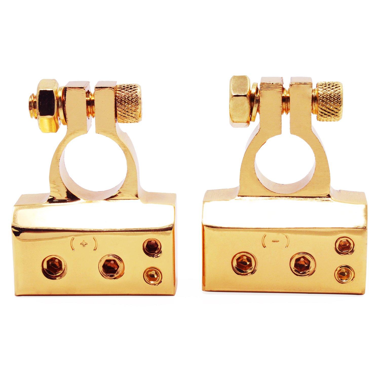 OCR Battery Terminal Clamp Positive Negative 2/4/8 Gauge Car Battery Terminal Clips(Gold)