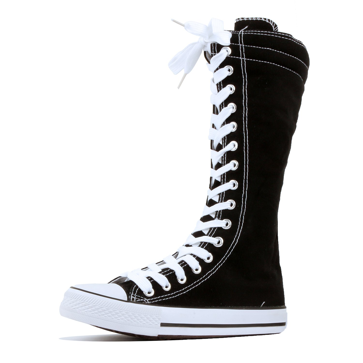 8328d30eeffaf4 DW Women s Tall Canvas Lace up Knee High Sneakers
