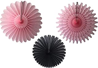 product image for Devra Party 3-Piece Tissue Paper Fans, Black Pink, 13-18 Inch