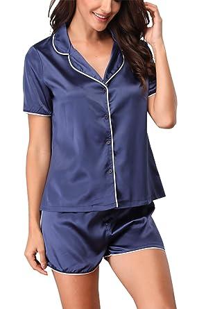 7b30c7c771 Giorzio Damen Satin Schlafanzüge Sommer Nachtwäsche Kurz Pyjama Set  Zweiteiliger V-Ausschnitt Schlafoveralls (Blau