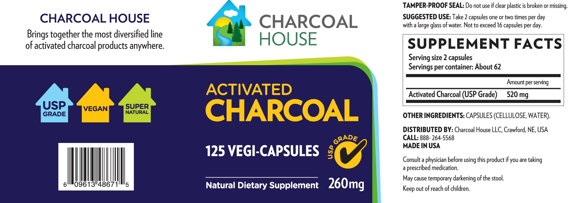 Activated Charcoal Capsules 125 count USP - Vegetarian Capsules