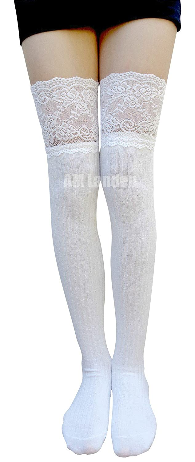 14906b422 AM Landen Sexy Over Knee High Socks Thigh High Socks Lace Socks Stockings  (1b.White) at Amazon Women s Clothing store