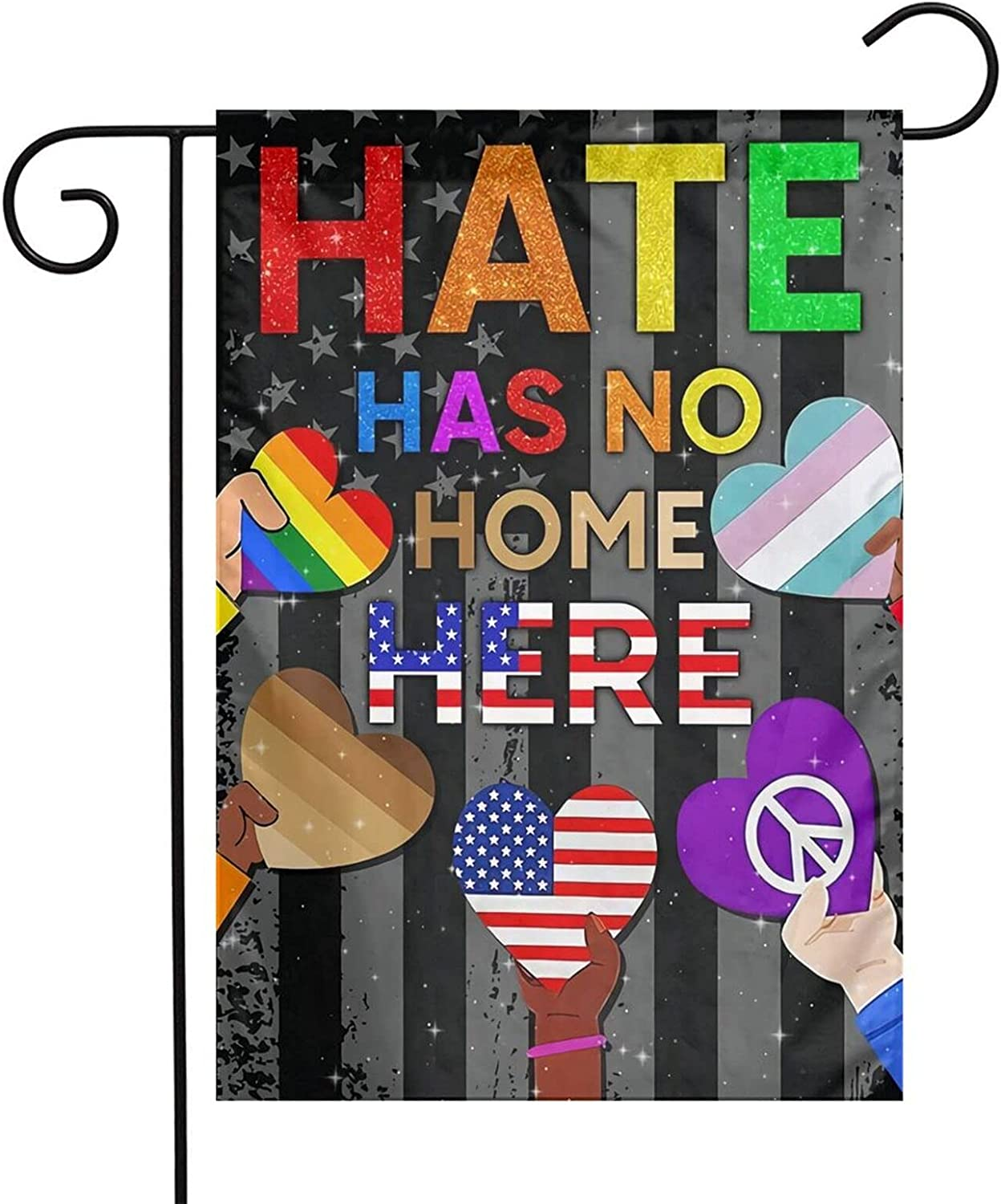 Hate Has No Home Here Garden Flag, 12 x 18 inch Yard Flag Human Rights Justice Sign, BLM Lawn Sign, Feminism Sign, Protest Sign Banner for Outdoor Yard Decoration