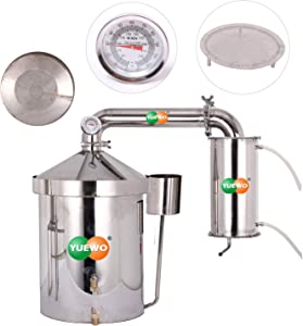 YUEWO 32~160L Wine Making Kits Moonshine Still Water Alcohol Distiller Brandy Grape Vodka Spirit Essential Oil Distillation Home Brewing Kit With Water Pump Thermometer 304 Stainless Steel