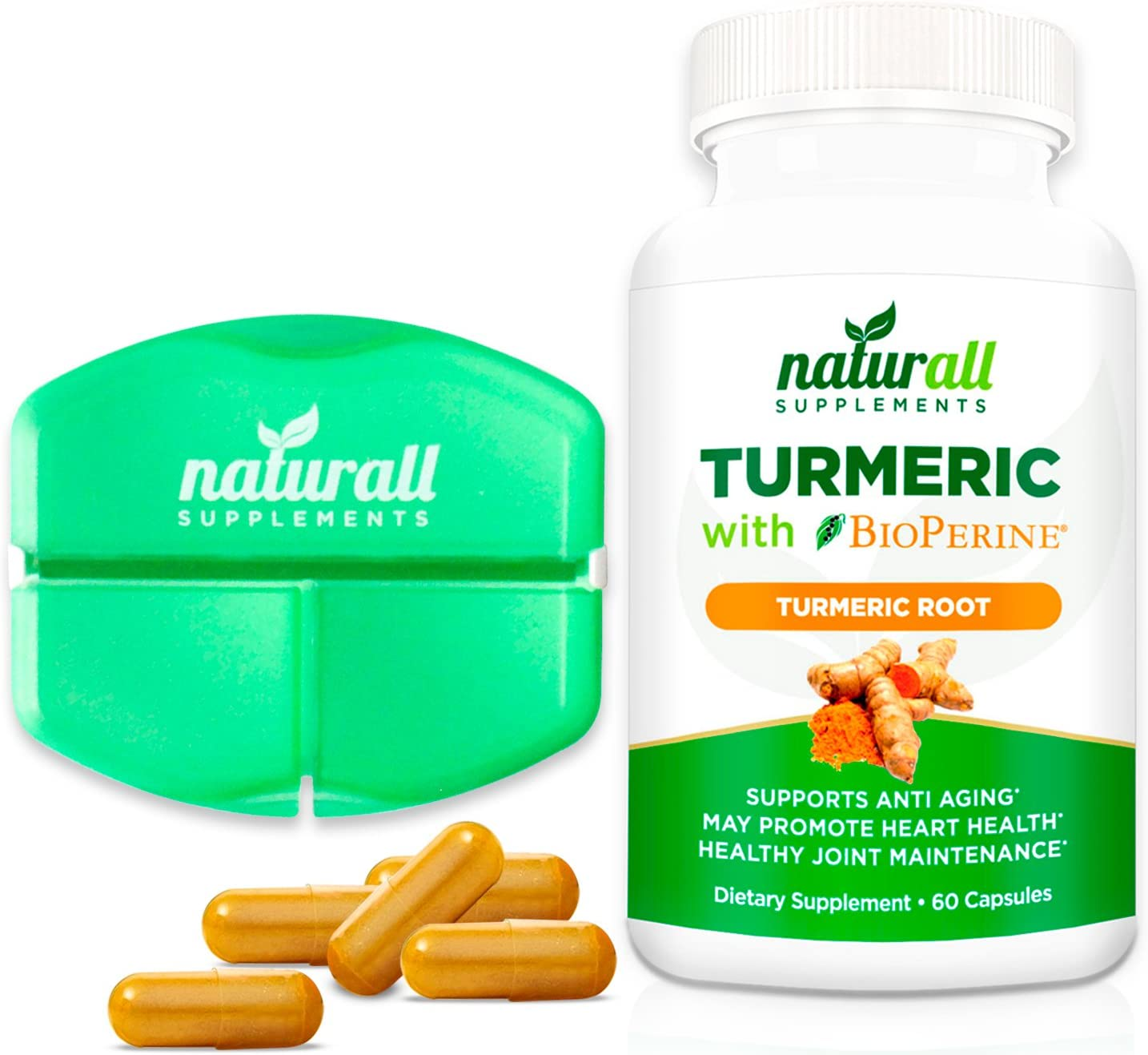 Turmeric Curcumin with Bioperine 1200mg – Includes 95 Curcuminoids – Free Pill Case Included – 60 Vegetarian Capsules- Gluten Free Joint Health