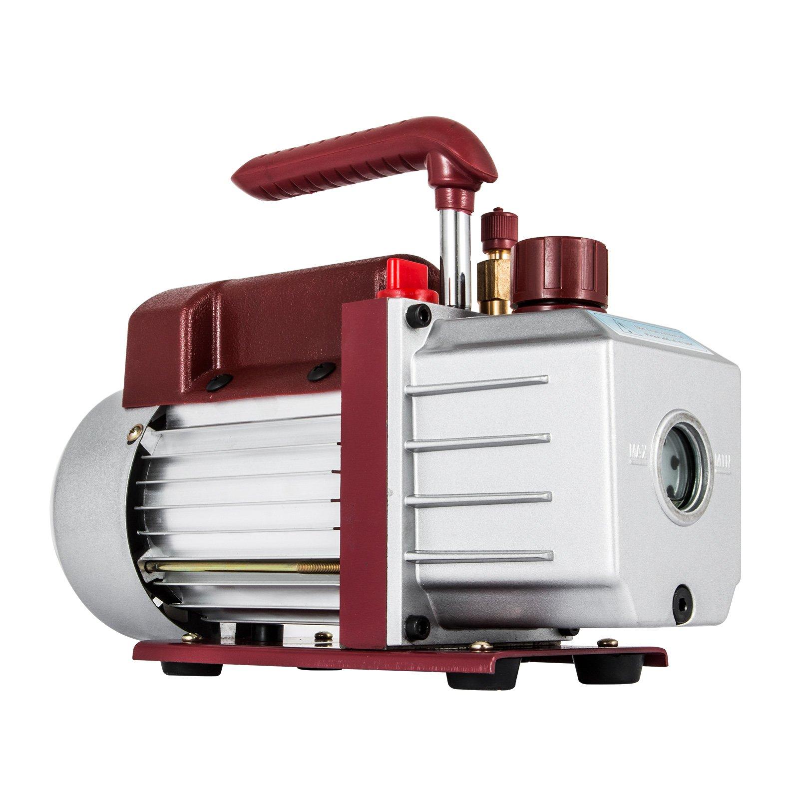 Bestauto 4.5CFM 1/3HP Vacuum Pump 110V 2 Meter Valve 1 Stage 5PA Ultimate Air Conditioning Refrigerant Vacuum Pump for HVAC/Auto AC Refrigerant Recharging Degassing wine epoxy Milking (4.5CFM 1-Stage)