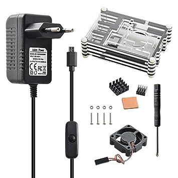 Aukru 9 Capas Caja de Refrigeración + Micro USB 5V 3000mA Cargador con Interruptor + disipador de Calor + Mini Ventilador + 4 Tornillos y ...